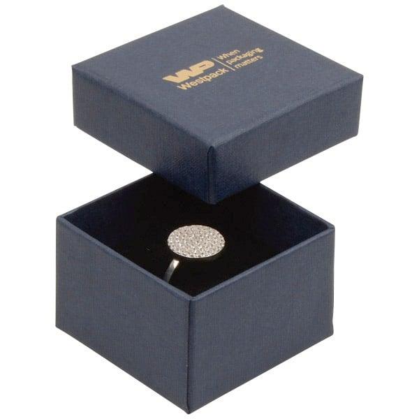 Boston sieradendoosje voor ring Donkerblauw karton met linnen structuur/Zwart foam 50 x 50 x 32