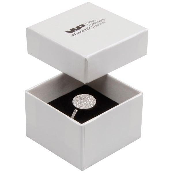 Boston écrin pour bague Carton blanc ivoire perlé/ Mousse blanche-noire 50 x 50 x 32