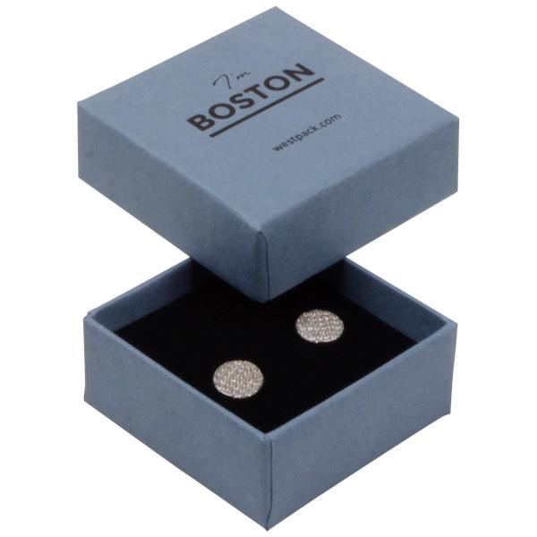 Boston sieradendoosje voor oorbellen/ oorknopjes Grijsblauw karton / Zwart foam 50 x 50 x 22