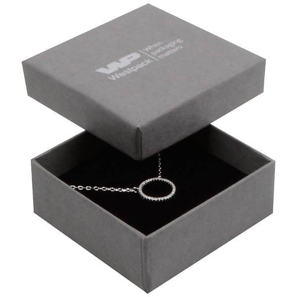 Boston écrin pour BO pendantes/petit pendentif Carton gris, aspect de lin / Mousse noire 65 x 65 x 25