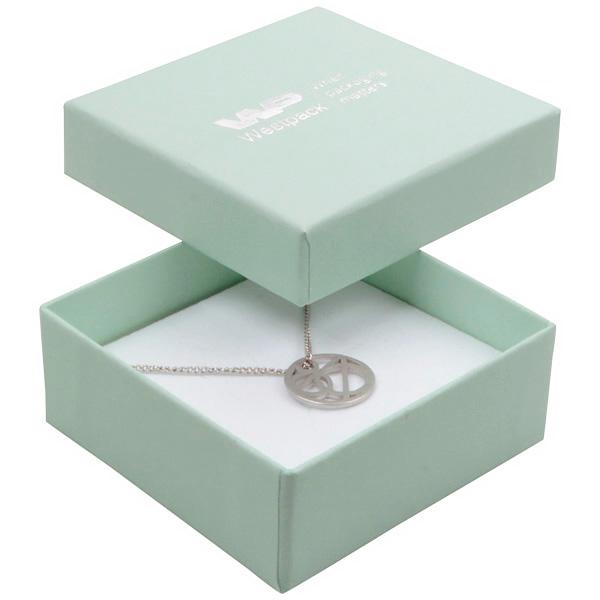 Boston écrin pour BO pendantes/petit pendentif Carton vert menthe/ Mousse noire-blanche 65 x 65 x 25