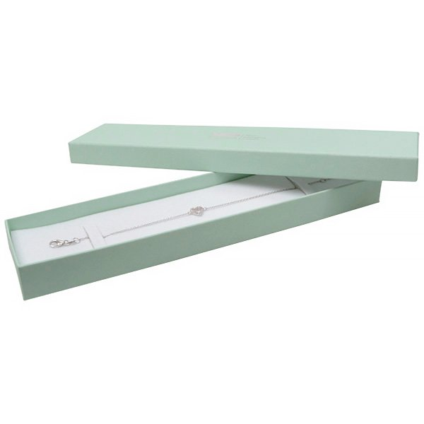 Boston sieradendoosje voor armband Mintgroen karton / Dubbelzijdig wit-zwart foam 225 x 50 x 22