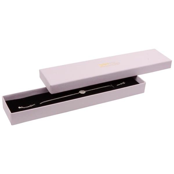 Boston écrin pour bracelet, long Carton rose clair/ Mousse réversible noire-blanche 225 x 50 x 22