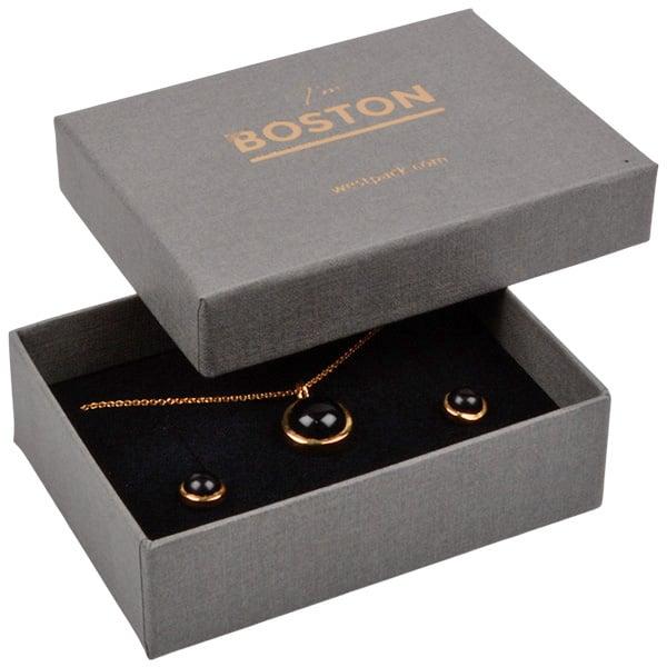 Boston sieradendoosje voor sieradenset Grijs karton met linnen structuur / Zwart foam 85 x 62 x 25