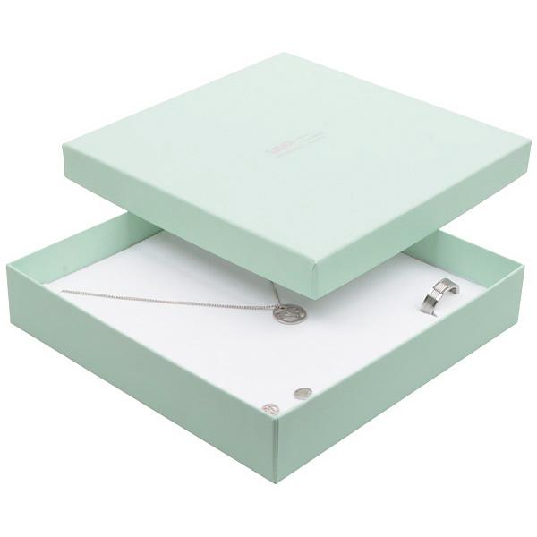 Boston sieradendoosje voor choker / collier, groot Mintgroen karton / Dubbelzijdig wit-zwart foam 168 x 168 x 32