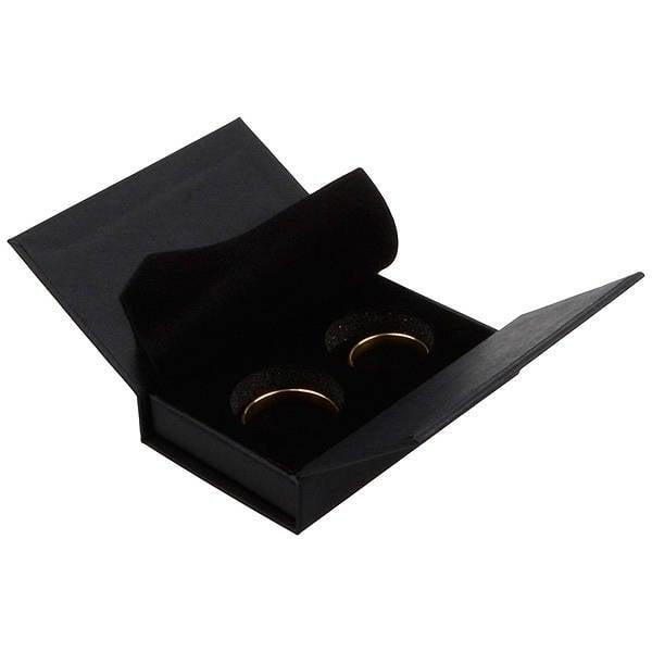 Boston sieradendoosje voor trouwringen Zwart karton/ Zwart foam 75 x 51 x 19