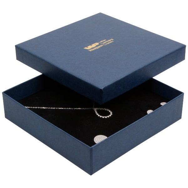 Boston sieradendoosje voor choker / collier, klein Donkerblauw karton met linnen structuur/Zwart foam 130 x 130 x 32