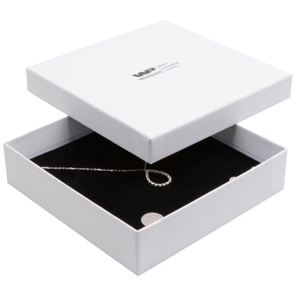 Boston sieradendoosje voor choker / collier, klein Wit karton met linnen structuur / Wit-zwart foam 130 x 130 x 32