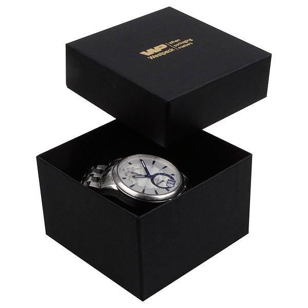 Boston sieradendoosje voor horloge / armring Mat zwart karton/ Zwart foam 90 x 90 x 57