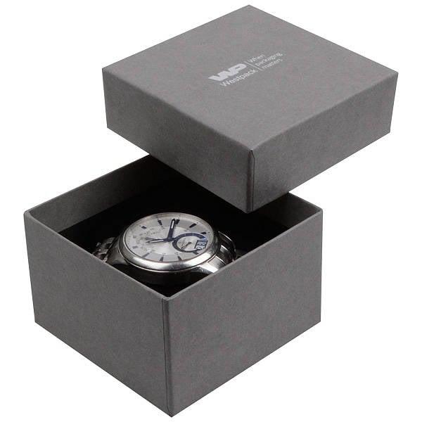 Boston sieradendoosje voor horloge / armring Grijs karton met linnen structuur / Zwart foam 90 x 90 x 57