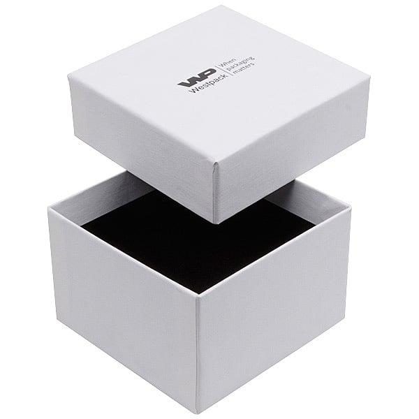 Boston sieradendoosje voor horloge / armring Wit karton met linnen structuur / Wit-zwart foam 90 x 90 x 57