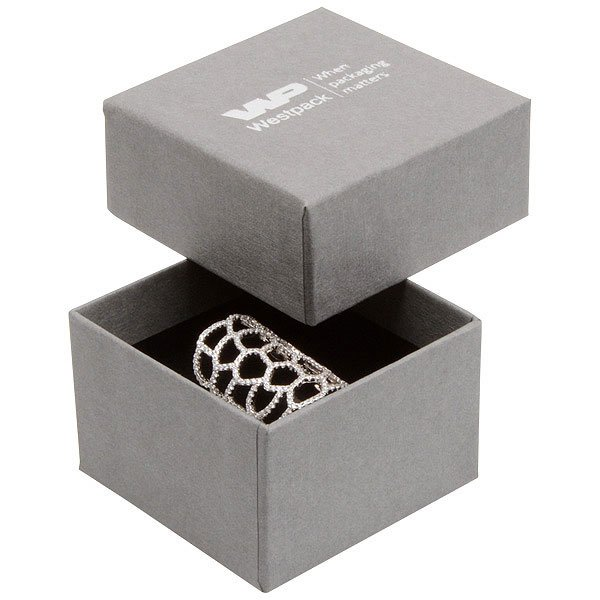 Boston XL écrin pour bague Carton gris, aspect de lin / Mousse noire 59 x 59 x 38