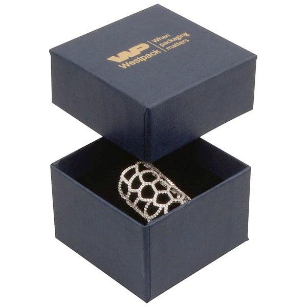 Boston XL sieradendoosje voor ring Donkerblauw karton met linnen structuur/Zwart foam 59 x 59 x 38