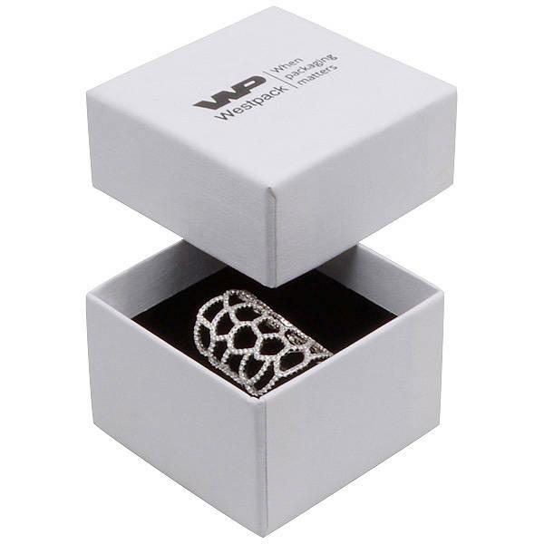 Boston XL écrin pour bague Carton blanc, aspect de lin /Mousse blanche-noire 59 x 59 x 38
