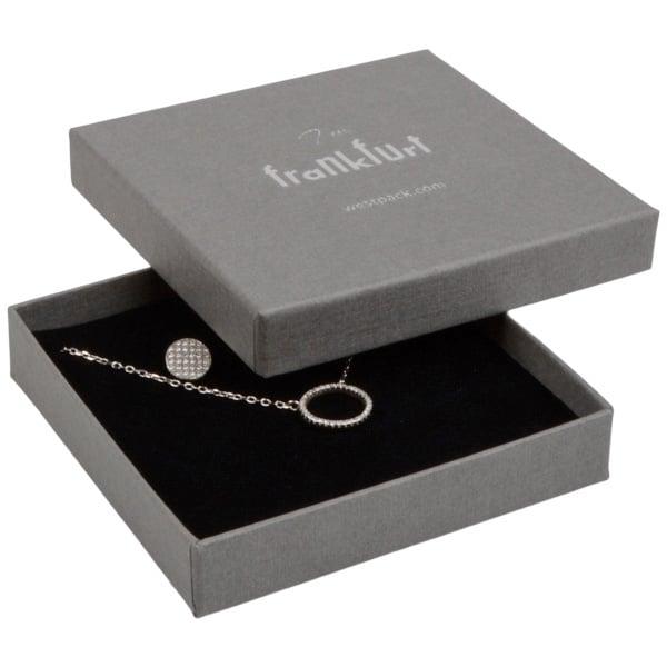 Frankfurt écrin pour bracelet/grand pendentif Carton gris, aspect de lin / Mousse noire 86 x 86 x 17