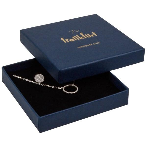 Frankfurt écrin pour bracelet/grand pendentif Carton bleu foncé, aspect de lin / Mousse noire 86 x 86 x 17
