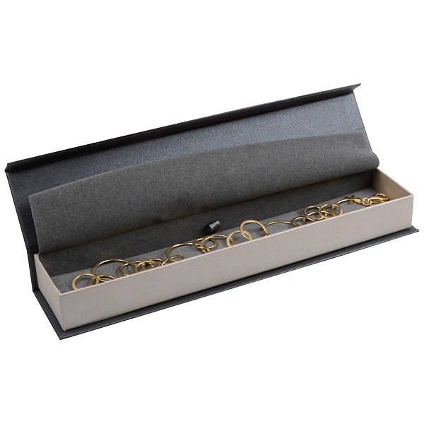Milano sieradendoosje voor armband Pearl antraciet-zilver karton/ Antraciet interieur 227 x 50 x 26