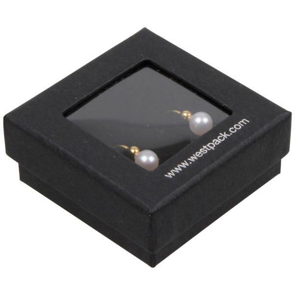 Boston Open sieradendoosje voor oorbellen/ knopjes Zwart karton met kijkvenster/ Zwart foam 50 x 50 x 20