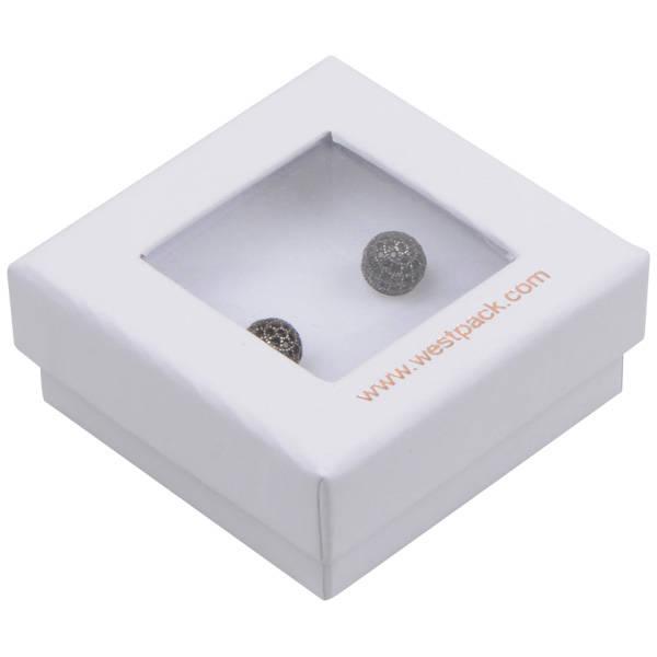 Boston Open sieradendoosje voor oorbellen/ knopjes Wit karton met kijkvenster/ Wit foam 50 x 50 x 20