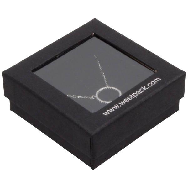 Boston Open sieradendoosje voor oorbellen/ hanger Zwart karton met kijkvenster/ Zwart foam 65 x 65 x 25