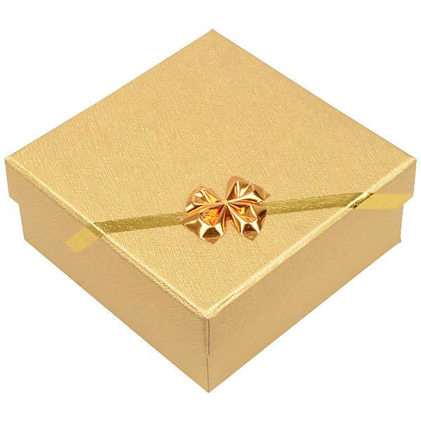 Las Vegas écrin pour bracelet/grand pendentif Carton or av. noeud doré / Mousse blanche 85 x 85 x 35