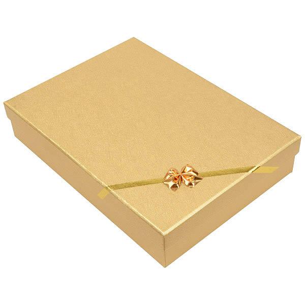 Las Vegas écrin pour collier / parure Carton or noeud doré / Mousse blanche 135 x 190 x 37