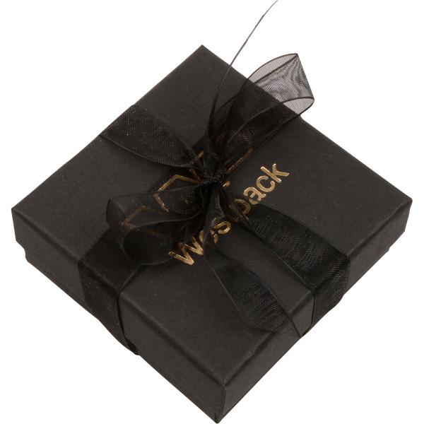 Barcelona sieradendoosje voor oorbellen / hanger Zwart karton met organza strik/ Zwart foam 65 x 65 x 25