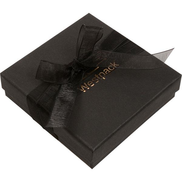 Barcelona sieradendoosje armring/ hanger Zwart karton met organza strik/ Zwart foam 86 x 86 x 28