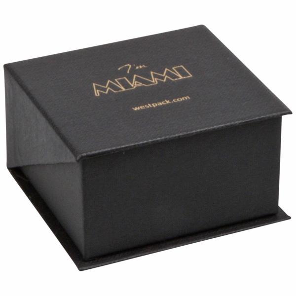 Miami sieradendoosje voor ring / trouwringen Zwart karton met stof-look/ Zwart foam 57 x 61 x 35