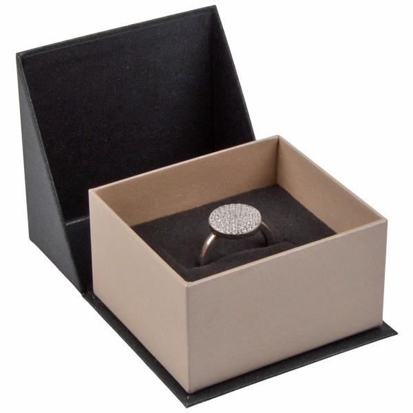 Miami écrin pour bague/ alliances Carton anthracite-argent perlé/ Mousse grisee 57 x 61 x 35