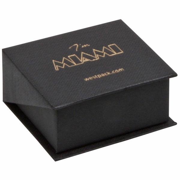 Miami sieradendoosje voor oorbellen / oorknopjes Zwart karton met stof-look/ Zwart foam 47 x 51 x 27