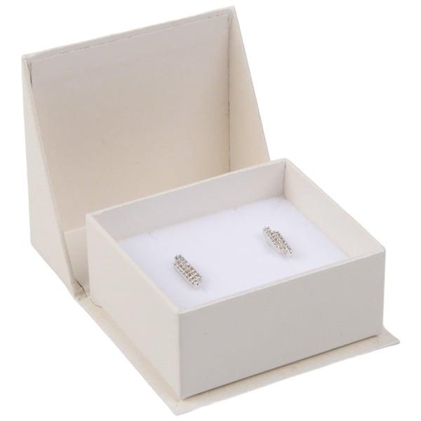 Miami écrin pour boucles d'oreilles/ breloque Carton blanc ivoire perlé/ Mousse blanche 47 x 51 x 27