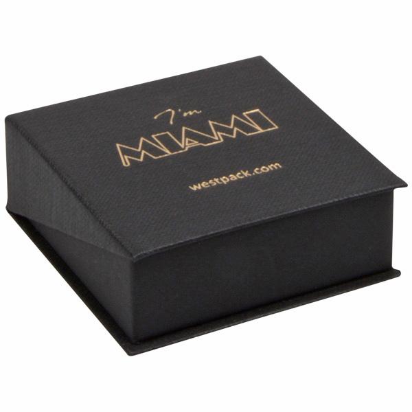 Miami sieradendoosje voor oorbellen / hanger Zwart karton met stof-look/ Zwart foam 66 x 66 x 27
