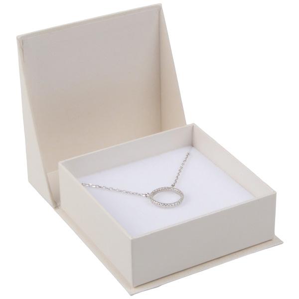 Miami sieradendoosje voor oorbellen / hanger Pearl ivoorwit karton/ Wit foam 66 x 66 x 27