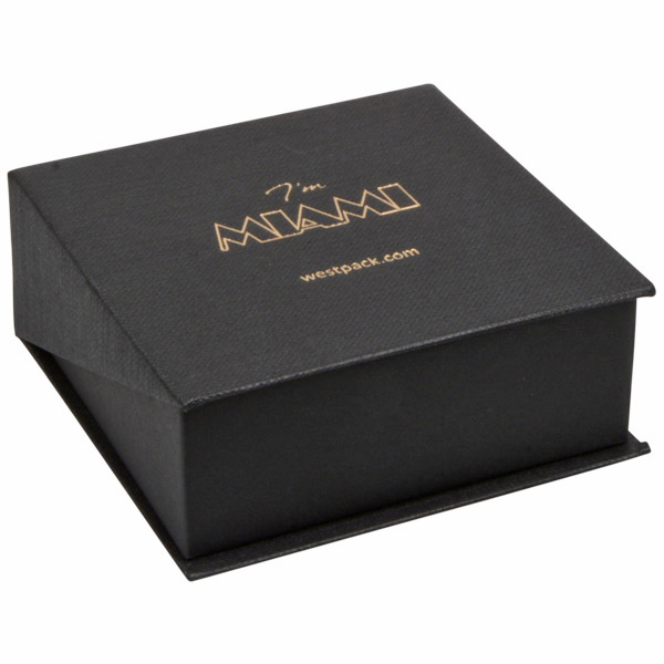 Miami sieradendoosje armring / hanger Zwart karton met stof-look/ Zwart foam 85 x 87 x 36