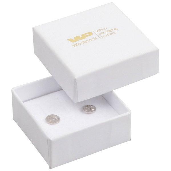Santiago sieradendoosje voor oorbellen/ oorknopjes Wit karton/ Wit foam 50 x 50 x 22