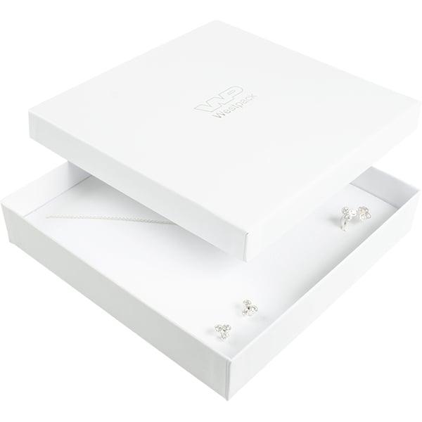 Santiago sieradendoosje voor collier / choker Wit karton/ Wit foam 168 x 168 x 32