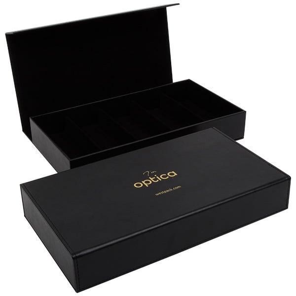 Optica - Opbergdoos voor 5 brillen  Mat zwart PU-leer/voering zwart velours 301 x 168 x 52
