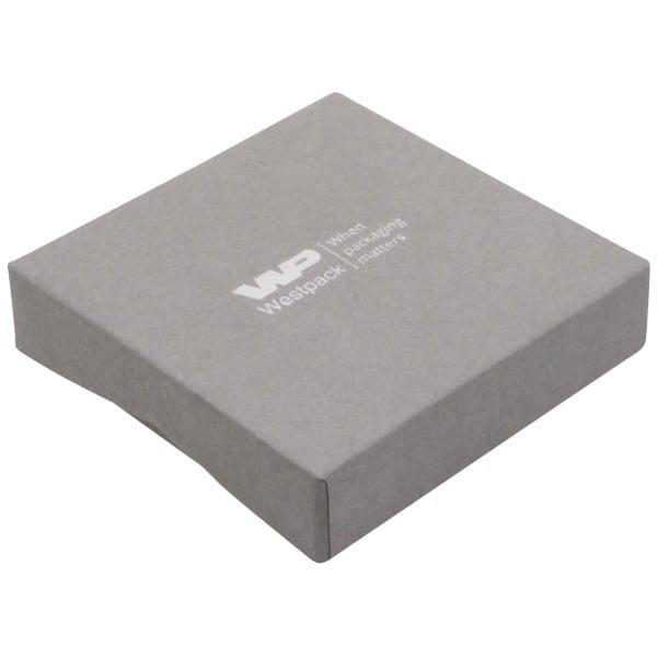 Amsterdam écrin plat pour bracelet/grand pendentif Carton gris / Mousse noire 86 x 86 x 20