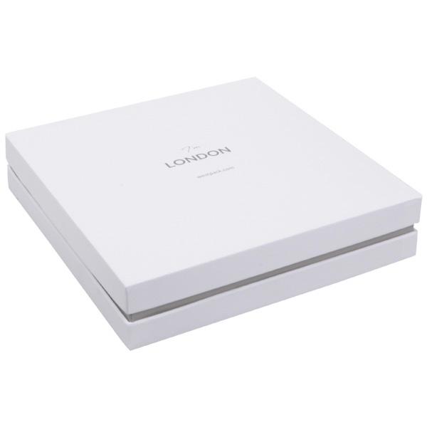 London - Ecrin parure 3 pièces Bague-BO-Collier Blanc aspect gommé/ Bordure grise / Mousse blanche 167 x 167 x 35