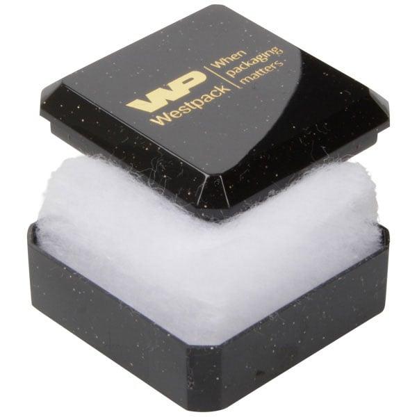 Rio wattendoosje voor oorbellen / oorknopjes Glanzend zwart kunststof met glitter/ Witte watten 40 x 40 x 18