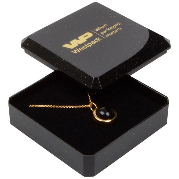 Rio sieradendoosje voor oorbellen/ hanger/ broche Glanzend zwart kunststof met glitter/ Zwart foam 60 x 60 x 21