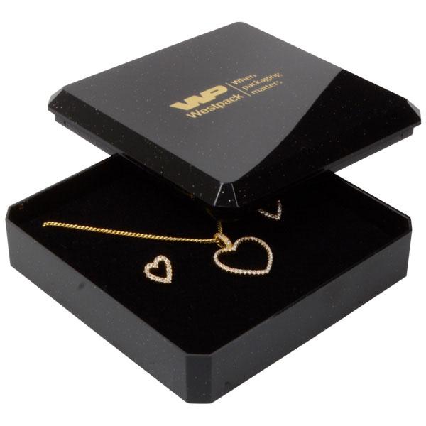 Rio écrin pour bracelet/grand pendentif Plastique noir pailleté / Mousse noire 80 x 80 x 24