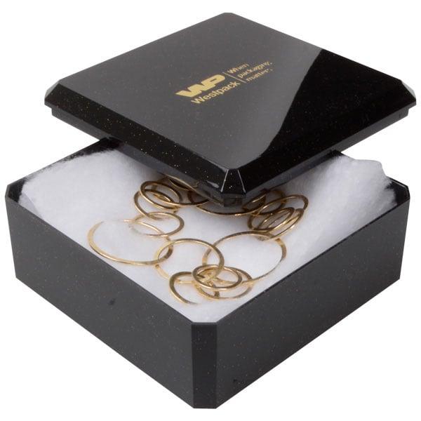Rio écrin pour montre/ bracelet rigide Plastique noir pailleté / Intérieur ouate blanche 90 x 90 x 40