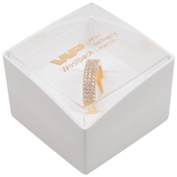 Copenhagen Open sieradendoosje voor ring Transparant deksel/ Witte bodem/ Wit foam 43 x 43 x 32