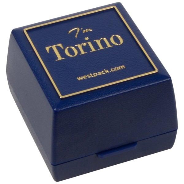 Torino écrin pour bague/ alliances Plastique bleu, liseré doré / Mousse noire 44 x 47 x 33