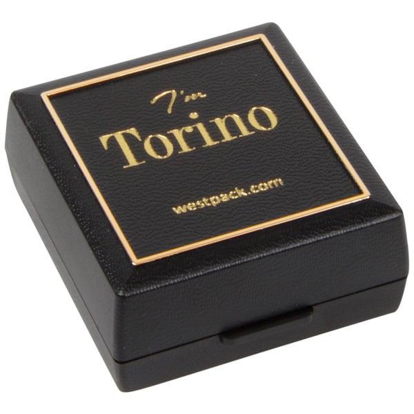 Torino sieradendoosje voor oorbellen / oorknopjes Zwart kunststof met gouden bies/ Zwart foam 48 x 45 x 22