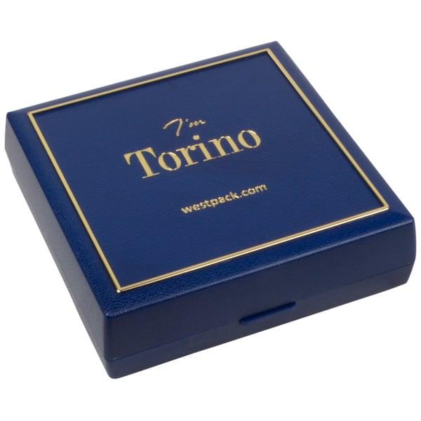 Torino écrin pour bracelet/grand pendentif Plastique bleu, liseré doré / Mousse noire 84 x 84 x 25