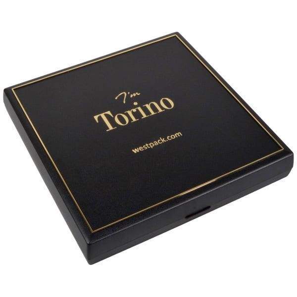 Torino sieradendoosje voor collier / choker Zwart kunststof met gouden bies/ Zwart interieur 160 x 160 x 23