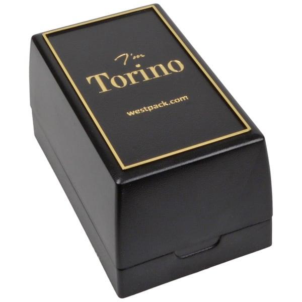 Torino sieradendoosje voor horloge Zwart kunststof met gouden bies/ Zwart interieur 55 x 95 x 50